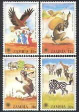 Zambia 1979 IYC/Rabbit/Eagle/Zebra/Animals/Nature/Children/Stories 4v set b7965