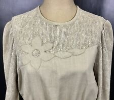 Vintage 70s 80s Faux Burlap Floral Applique Dress Womens 12 Khaki Tan Belted