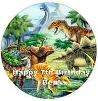 "Dinosaur Scene Personalised Cake Topper 7.5"" Edible Wafer Paper"