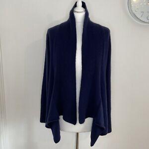JOHN LEWIS 100% Cashmere Navy Cardigan Size 16 Edge to Edge Waterfall