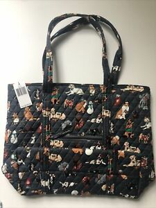 🐕🦺🐩NWT Vera Bradley large TOTE in gray HOLIDAY DOGS 🐕 Limited 🐕🦺