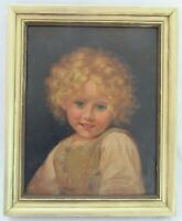 ANTIQUE ORIGINAL OIL PAINTING LITTLE GIRL CHILD 1920 PORTRAIT FOLK ART COUNTRY