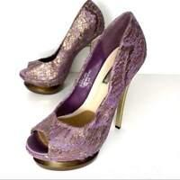 H by Halston Platform Heels Pumps Purple Gold Lace Peep Toe Stiletto Size 6.5