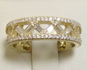 925 Sterling Silver Simulated Diamond Eternity Band Ring Size 9 14k Yellow Gold