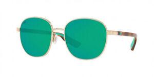 Costa Del Mar Egret Sunglasses 6S4005-0155 Gold Green Mirror Polarized 580G Lens