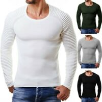 Men Knitwear Sweater Tops Jumper Rib Pullover Warm Round Neck Long Sleeve Muscle