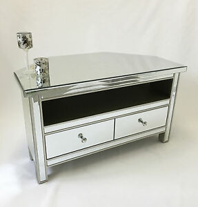 Classic Mirror Glass Silver Trim 2 Drawer Widescreen TV Corner Cabinet Stand