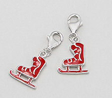 Solid Sterling Silver Red Enamel Skating Shoe Charm Bracelet Pendant Necklace