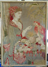 """LARGE FRAMED ANTIQUE NEEDLEPOINT OF WOMAN FEEDING A PARROT ~ 25""""x35"""""""