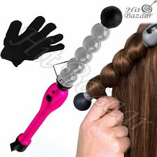 CERAMIC BUBBLE HAIR Styling Curling Wave Iron Wand Pink Beauty Curler Accessory