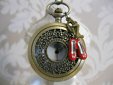 New Wizard Of Oz Ruby Slippers Large Unique Bronze Tone Pocket Watch Necklace