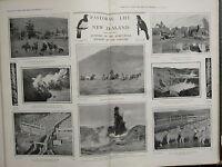1903 BOER WAR ERA PRINT ~ PASTORAL LIFE NEW ZEALAND SHEPHERDS WAIMANGU GEYSER