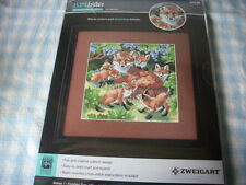 """Counted cross stitch kit, Den Mother, foxes, #1388800, 12"""" x 11.25"""", Artiste"""