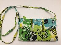 Vera Bradley Wallet Crossbody Bag with Removable Strap Limes Up Green & Yellow