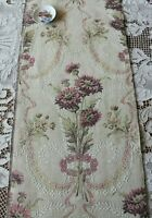 "Antique French Art Nouveau Floral Cotton Tapestry Sample Fabric c1920~35""X25"""