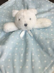 Blankets & Beyond Blue White Teddy Bear Lovey Polka Dots Baby Security Blanket