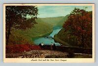 New River Canyon WV, Hawks Nest, Chrome West Virginia Postcard