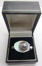 Nouveau 925 Handcrafted Mabe blister Pearl un seul brin Sterling Fermoir Argent #4