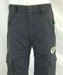 NFL GREEN BAY PACKERS MEN'S CLASSIC CARGO WINTER/SNOW/SKI PANTS, BLACK ALL SIZE