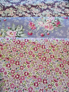 FAT QUARTERS TILDA WOODLAND COLLECTION PURPLE/PINK SHADES, 100% QUILTING COTTON