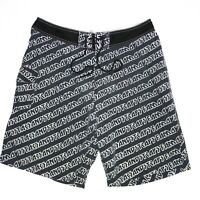 Famous Stars & Straps All Over Print AOP Mens Board Shorts Size 36 Black