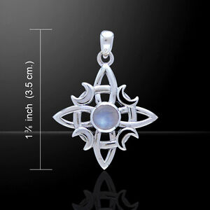 Witches Knot Pendant Wicca Moon .925 Sterling Silver Gem by Peter Stone Jewelry