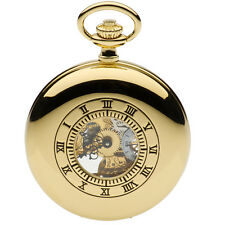 Jean Pierre Gold Plated Half Hunter Full Skeleton Pocket Watch, ref G303PM