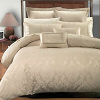 Luxury 7pc Jacquard Design Beige Duvet Cover Bedding Set AND Pillows - ALL SIZES