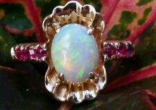 Vintage 14k Yellow Gold Opal Sapphire Ring/Gold Opal Ring/Solid Gold Rng