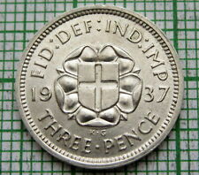GREAT BRITAIN GEORGE VI 1937 THREEPENCE 3 PENCE, SILVER HIGH GRADE