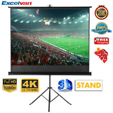 """100"""" HD Tripod Stand Projector Projection Screen 16:9 White Matte 3D Home Cinema"""