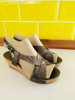 Ladies Clarks Softwear UK 4.5 Snake Print Leather Wedge Slingback Sandals Buckle