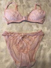 Vtg VICTORIA'S SECRET Gold Label Lace Wire Free Bra & Panties Set Pink ~ 34B/S