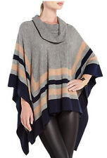 "$278 BCBG M. HEATHER GREY COMB  ""WYONA"" OVERSIZE PONCHO WOOL SWEATER TOP NWT OS"