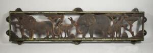 African Safari Iron Wall Panel Elephant, Giraffe, Lion, Monkey