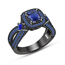 Black Gold Over Engagement Wedding Ring 1.50 Ct Cushion Cut Blue Sapphire 14K