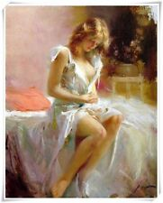"""Pino Daeni,Hand-painted Portrait oil Painting On Canvas 24x36""""#3/Unframed"""
