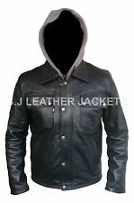 Men's Fashion Terminator Black Hoodie Real Leather Jacket Top Quality Xs-5xl