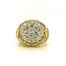 Sterling Silver 925 Yellow Gold Plated Men's Ring With Cubic Zirconia CZ