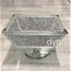 XL Crush Diamond Fruit Bowl Silver Romany Square Crushed Bling Centrepiece UK