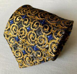 "Robert Talbott Tie. Seven Fold Limited Edition 32/40. $175 NWT. Blue & Gold. 4""."