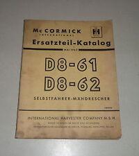 Teilekatalog / Ersatzteilliste IH McCormick Mähdrescher D8-61 / -62 -St. 05/1962