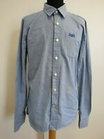 DD495 MENS SUPERDRY BLUE WHITE LONG SLEEVE FITTED SHIRT UK LARGE L 42""