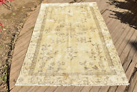 Turkish Rug 57''x99'' Vintage Light Color 4x8 Medallion Oushak Carpet 146x253cm