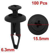 100Pcs Plastic Push Type Rivet Retainer Fastener Bumper Pin Clips for Ford Black