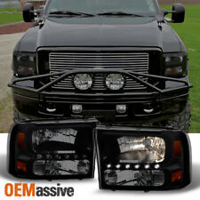 Fit 99-04 Ford F250/F350 SD Excursion Black Smoke 1PC LED Headlights Corner Lamp