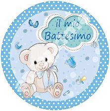 Cialda - Ostia per torte Battesimo Bimbo - tonda e personalizzabile Anche A3
