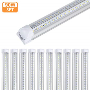 10Pack 8Ft LED Shop Light Fixture,90W 10000 Lumens 5000K Daylight White, Clear 8