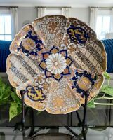 "Antique Signed Imari Japanese 10.25"" Scalloped Butterflies Gold Meiji Plate"