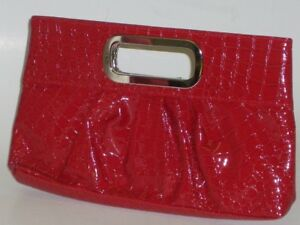 Sporty Chic Ladies Strap Bag Red IN Crocodile Style New